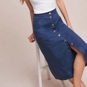 Anthro Akemi + Akin Navy Riverine Midi Skirt